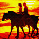 Horse Riding At Sunset
